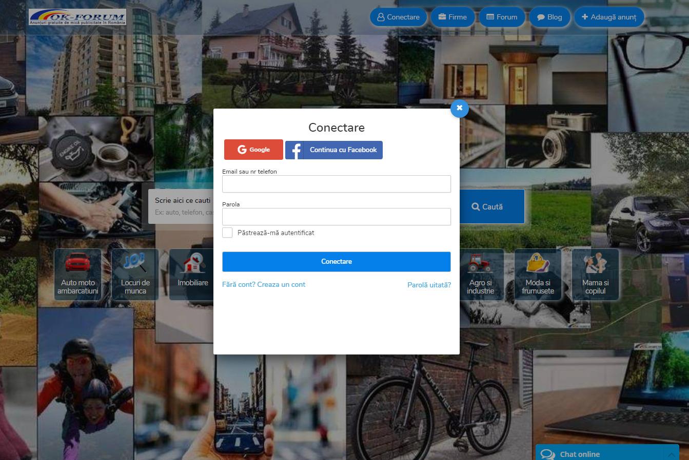 Conectarea pe Ok Forum Romania cu ajutorul Google sau Facebook