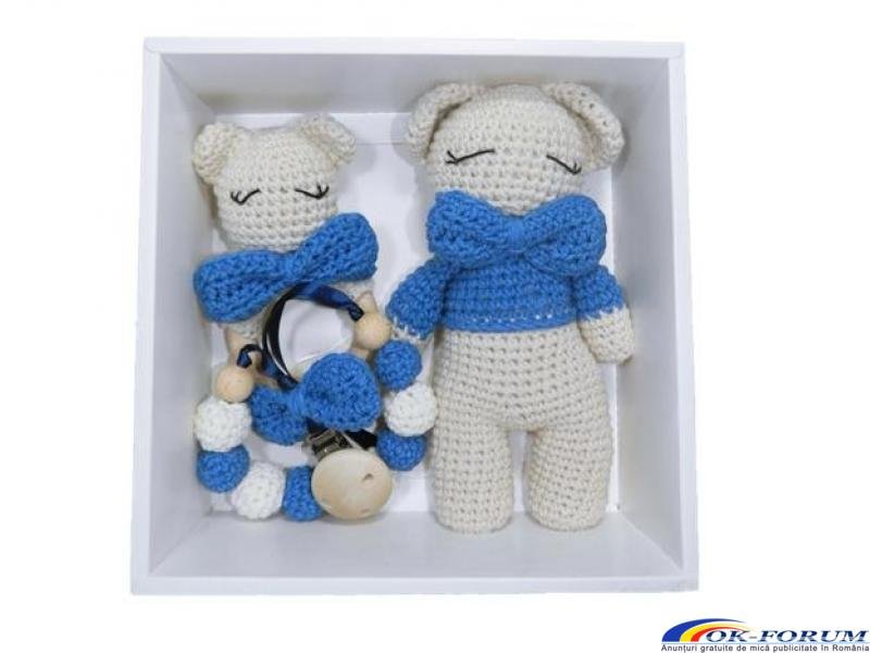Set cadou bebelusi, 3 piese crosetate, Albastru - 1