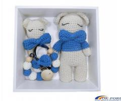 Set cadou bebelusi, 3 piese crosetate, Albastru
