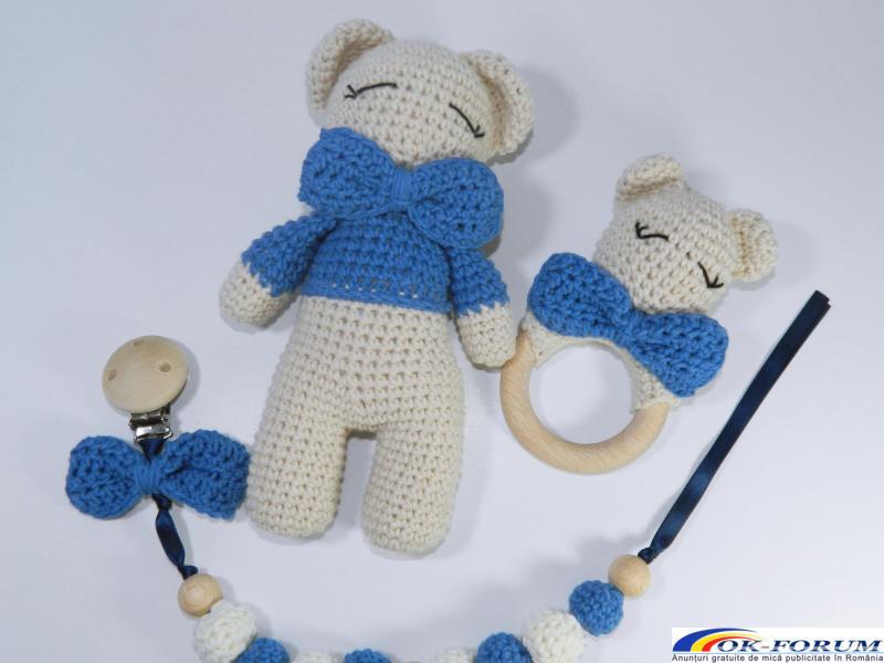 Set cadou bebelusi, 3 piese crosetate, Albastru - 2