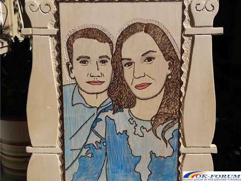 Realizez portrete sculptate pirogravate si pictate in lemn - 4