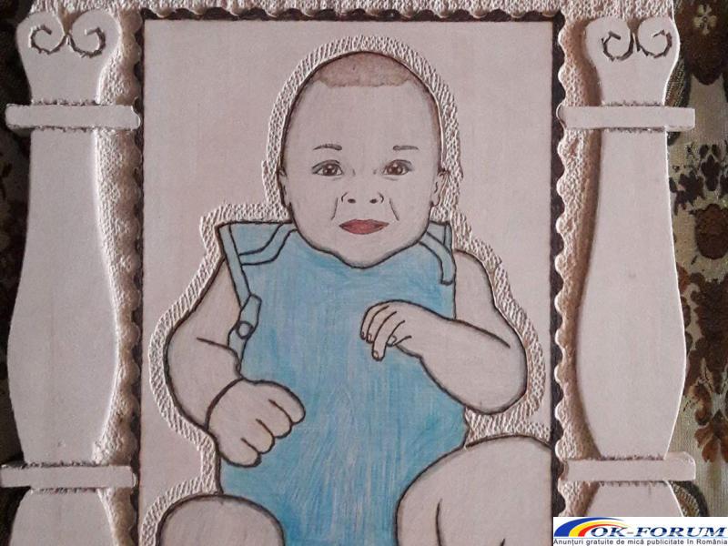 Realizez portrete sculptate pirogravate si pictate in lemn - 5