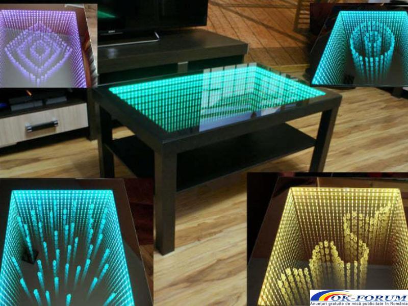Masa 3D personalizata, masa infinity, masa sticla LED - 1
