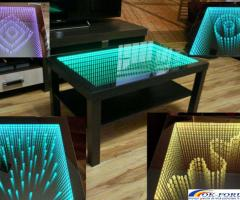 Masa 3D personalizata, masa infinity, masa sticla LED