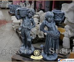 Statuete copii cu cosulete, din beton, model J3,J4.
