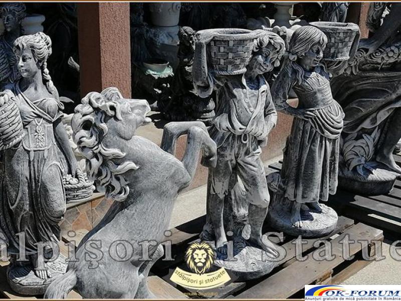 Statuete copii cu cosulete, din beton, model J3,J4. - 3