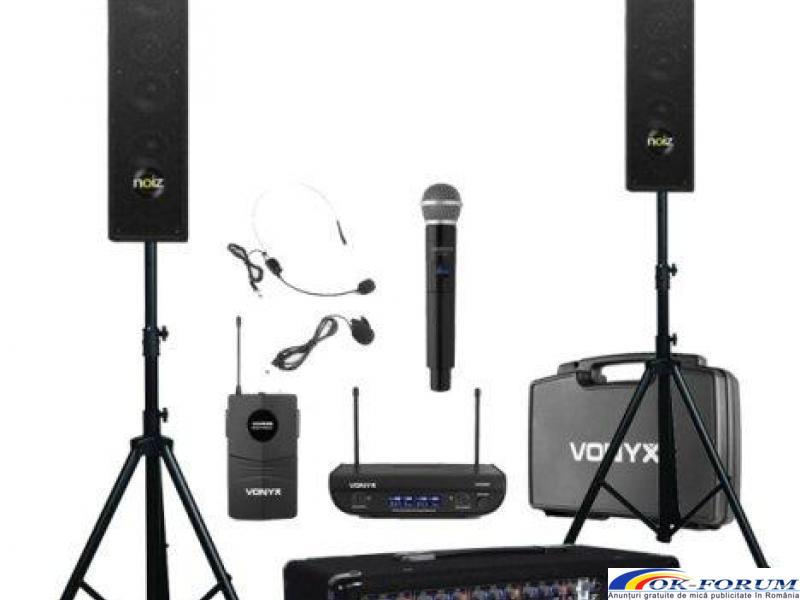 Kit sonorizare portabil Presenter 8, boxe, microfoane wireless, stative - 1